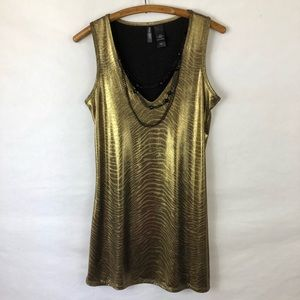 Bisou Bisou bronze dress with black necklace small